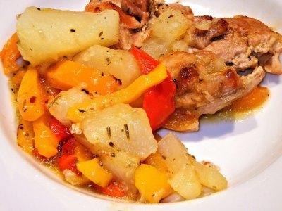 Ψητό κοτόπουλο με τζιντζιμπίρα και λαχανικά, γλασαρισμένο με σόγια και μέλι!